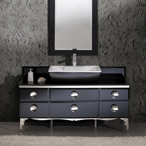 "Fresca Moselle 59"" Modern Glass Bathroom Vanity w/ Mirror"