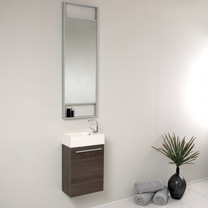 "Fresca Pulito 16"" Small Gray Oak Modern Bathroom Vanity w/ Tall Mirror"