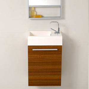 "Fresca Pulito 16"" Small Teak Modern Bathroom Vanity w/ Tall Mirror"