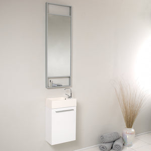 "Fresca Pulito 16"" Small White Modern Bathroom Vanity w/ Tall Mirror"