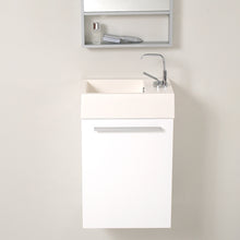 "Load image into Gallery viewer, Fresca Pulito 16"" Small White Modern Bathroom Vanity w/ Tall Mirror"