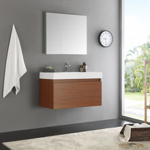 "Load image into Gallery viewer, Fresca Mezzo 36"" Teak Wall Hung Modern Bathroom Vanity w/ Medicine Cabinet"