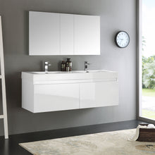 "Load image into Gallery viewer, Fresca Mezzo 60"" White Wall Hung Double Sink Modern Bathroom Vanity w/ Medicine Cabinet"