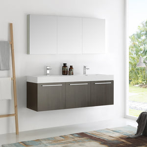 "Fresca Vista 60"" Gray Oak Wall Hung Double Sink Modern Bathroom Vanity w/ Medicine Cabinet"