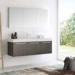 "Fresca Vista 60"" Gray Oak Wall Hung Single Sink Modern Bathroom Vanity w/ Medicine Cabinet"