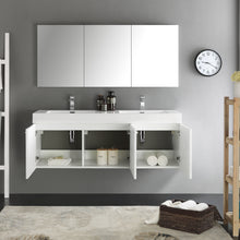 "Load image into Gallery viewer, Fresca Vista 60"" White Wall Hung Double Sink Modern Bathroom Vanity w/ Medicine Cabinet"