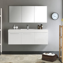 "Load image into Gallery viewer, Fresca Vista 60"" White Wall Hung Single Sink Modern Bathroom Vanity w/ Medicine Cabinet"