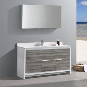 "Fresca Allier Rio 60"" Ash Gray Single Sink Modern Bathroom Vanity w/ Medicine Cabinet"