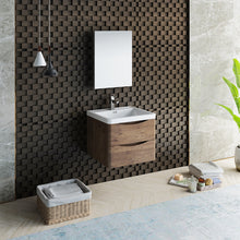 "Load image into Gallery viewer, Fresca Tuscany 24"" Rosewood Wall Hung Modern Bathroom Vanity w/ Medicine Cabinet"