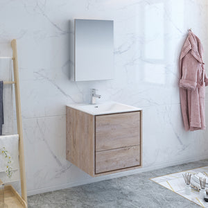 "Fresca Catania 24"" Rustic Natural Wood Wall Hung Modern Bathroom Vanity w/ Medicine Cabinet"