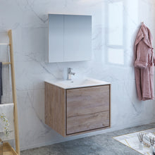 "Load image into Gallery viewer, Fresca Catania 30"" Rustic Natural Wood Wall Hung Modern Bathroom Vanity w/ Medicine Cabinet"