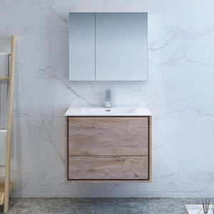 "Fresca Catania 30"" Rustic Natural Wood Wall Hung Modern Bathroom Vanity w/ Medicine Cabinet"