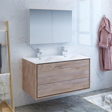 "Load image into Gallery viewer, Fresca Catania 48"" Rustic Natural Wood Wall Hung Double Sink Modern Bathroom Vanity w/ Medicine Cabinet"