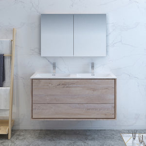 "Fresca Catania 48"" Rustic Natural Wood Wall Hung Double Sink Modern Bathroom Vanity w/ Medicine Cabinet"
