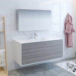 "Fresca Catania 60"" Glossy Ash Gray Wall Hung Single Sink Modern Bathroom Vanity w/ Medicine Cabinet"