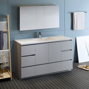 "Fresca Lazzaro 60"" Gray Free Standing Single Sink Modern Bathroom Vanity w/ Medicine Cabinet"