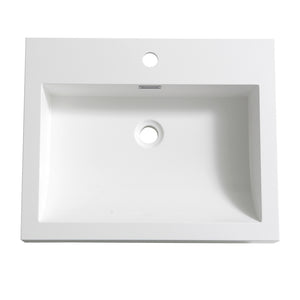 "Fresca Nano 24"" White Integrated Sink / Countertop"