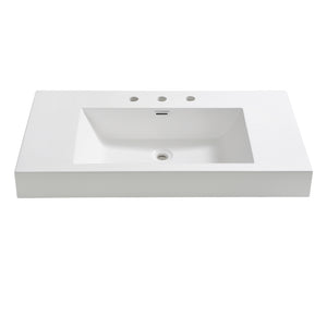 "Fresca Vista 36"" White Integrated Sink / Countertop - SKU # FVS8090WH"