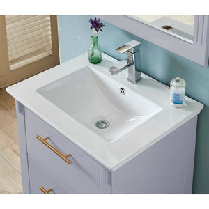 "24""SINGLE SINK BATHROOM VANITY IN GREY FINISH WITH CERAMIC TOP-NO FAUCET"