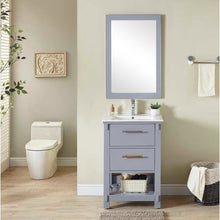 "Load image into Gallery viewer, 24""SINGLE SINK BATHROOM VANITY IN GREY FINISH WITH CERAMIC TOP-NO FAUCET"