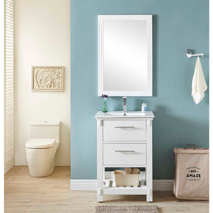 "24""SINGLE SINK BATHROOM VANITY IN WHITE FINISH WITH CERAMIC TOP-NO FAUCET"
