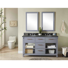 "Load image into Gallery viewer, 60""DOUBLE SINK BATHROOM VANITY IN GREY FINISH WITH POLISHED TEXTURED SURFACE GRANITE TOP-NO FAUCET"