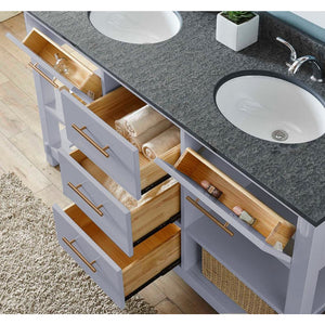 "60""DOUBLE SINK BATHROOM VANITY IN GREY FINISH WITH POLISHED TEXTURED SURFACE GRANITE TOP-NO FAUCET"