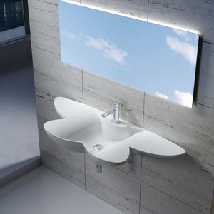 "53""POLYSTONE BUTTERFLY STYLE WALL MOUNTED SINK IN GLOSSY WHITE FINISH-NO FAUCET"