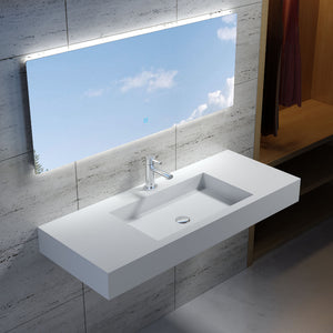 "47""POLYSTONE RECTANGULAR WALL MOUNTED SINK IN GLOSSY WHITE FINISH-NO FAUCET"
