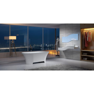 "64""POLYSTONE OVAL FREE STANDING BATHTUB IN MATTE WHITE FINISH-NO FAUCET"
