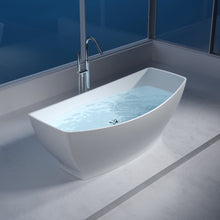 "Load image into Gallery viewer, 64""POLYSTONE CANOE FREE STANDING BATHTUB IN MATTE WHITE FINISH-NO FAUCET"