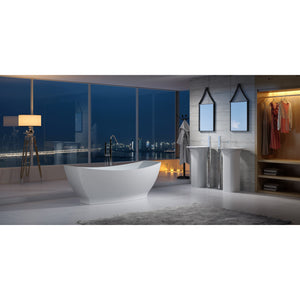 "64""POLYSTONE CANOE FREE STANDING BATHTUB IN MATTE WHITE FINISH-NO FAUCET"