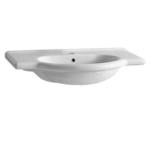 Isabella Collection Wall Mount/Semi Recessed Large Vanity Bath Basin with Single Hole Faucet Drilling Integrated Oval Basin and Chrome Overflow
