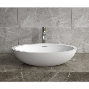 "24""x14""POLYSTONE OVAL VESSEL BATHROOM SINK WITH OVERFLOW IN GLOSSY WHITE FINISH-NO FAUCET"
