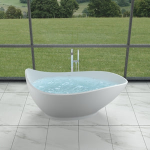 "68""POLYSTONE TEAR DROP FREE STANDING BATHTUB IN GLOSSY WHITE FINISH-NO FAUCET"