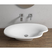 "Load image into Gallery viewer, 25""x15""POLYSTONE POND VESSEL BATHROOM SINK IN MATTE WHITE FINISH-NO FAUCET"
