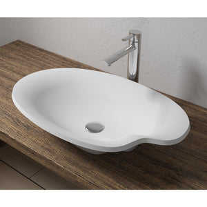 "25""x15""POLYSTONE POND VESSEL BATHROOM SINK IN MATTE WHITE FINISH-NO FAUCET"