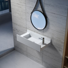 "Load image into Gallery viewer, 31""POLYSTONE RECTANGULAR WALL MOUNTED SINK ONLY IN MATTE WHITE FINISH-NO FAUCET"