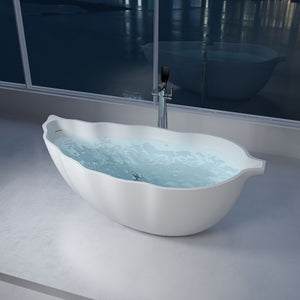 "69""POLYSTONE LEAF FREE STANDING BATHTUB IN MATTE WHITE FINISH-NO FAUCET"