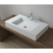"Load image into Gallery viewer, 31""x18""POLYSTONE RECTANGULAR VESSEL BATHROOM SINK IN MATTE WHITE FINISH-NO FAUCET"