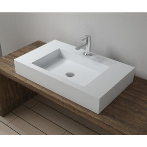 "31""x18""POLYSTONE RECTANGULAR VESSEL BATHROOM SINK IN MATTE WHITE FINISH-NO FAUCET"