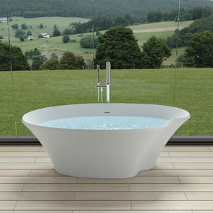 "70""POLYSTONE POND FREE STANDING BATHTUB IN MATTE WHITE FINISH-NO FAUCET"