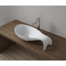 "Load image into Gallery viewer, 25""x14""POLYSTONE MERMAID VESSEL BATHROOM SINK IN GLOSSY WHITE FINISH-NO FAUCET"