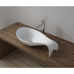 "25""x14""POLYSTONE MERMAID VESSEL BATHROOM SINK IN GLOSSY WHITE FINISH-NO FAUCET"