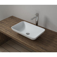 "Load image into Gallery viewer, 20""x13""POLYSTONE RECTANGULAR VESSEL BATHROOM SINK IN GLOSSY WHITE FINISH-NO FAUCET"