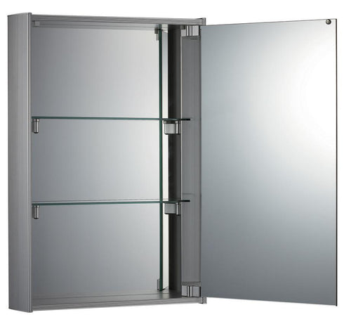 Medicinehaus Single Mirrored Door Surface Mount Anodized Aluminum Medicine Cabinet