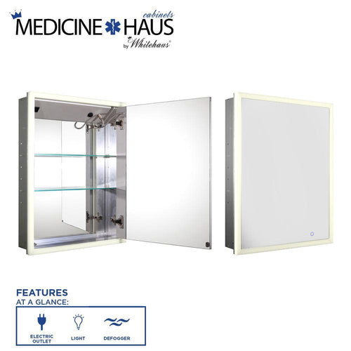 Medicinehaus Recessed Single Mirrored Door Medicine Cabinet with Outlet, Defogger, LED Power Button and Dimmer for Light