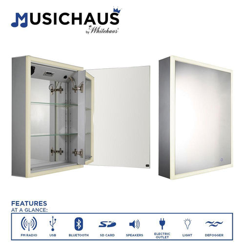 Musichaus Single Mirrored Door Medicine Cabinet with USB, SD Card, Bluetooth, FM radio, Speakers, Defogger, & Dimmer