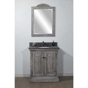 "30"" RUSTIC SOLID FIR SINGLE SINK VANITY IN GREY DRIFTWOOD WITH POLISHED TEXTURED SURFACE GRANITE TOP-NO FAUCET"