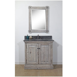 "36"" RUSTIC SOLID FIR SINGLE SINK VANITY IN GREY DRIFTWOOD WITH LIMESTONE TOP-NO FAUCET"